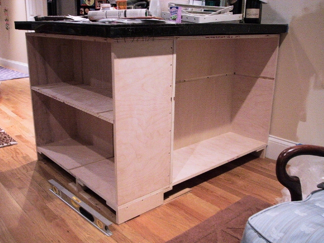 Cabinet carcass in mid construction